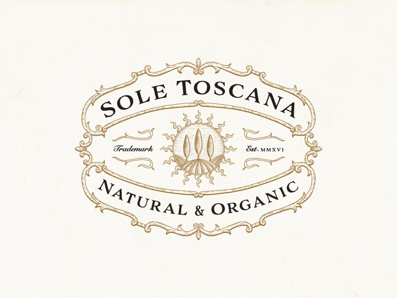 Sole Toscana victorian ornaments illustration hand-drawn cosmetics natural organic vintage-modern farm luxury sophisticated vintage