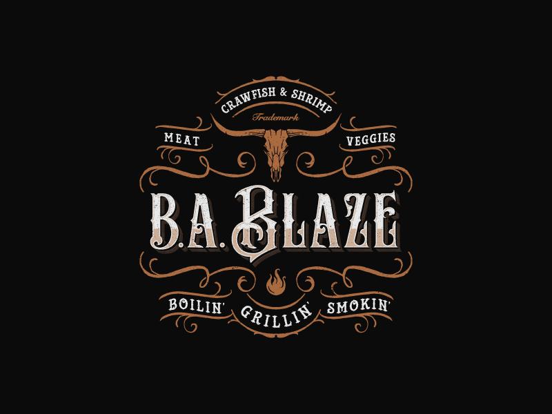 B.A Blaze southern long-horn rustic ornaments illustration hand-drawn organic vintage-modern bbq luxury sophisticated vintage
