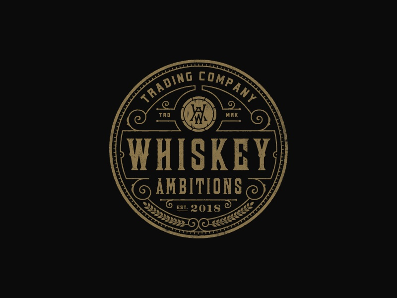 Whiskey Ambitions barrel rustic whiskey vintage-modern line-art badge sophisticated vintage