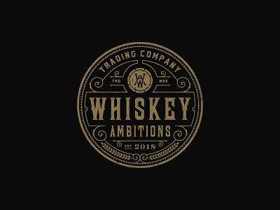 Whiskey Ambitions barrel rustic whiskey vintage-modern line-art badge sophisticated vintage