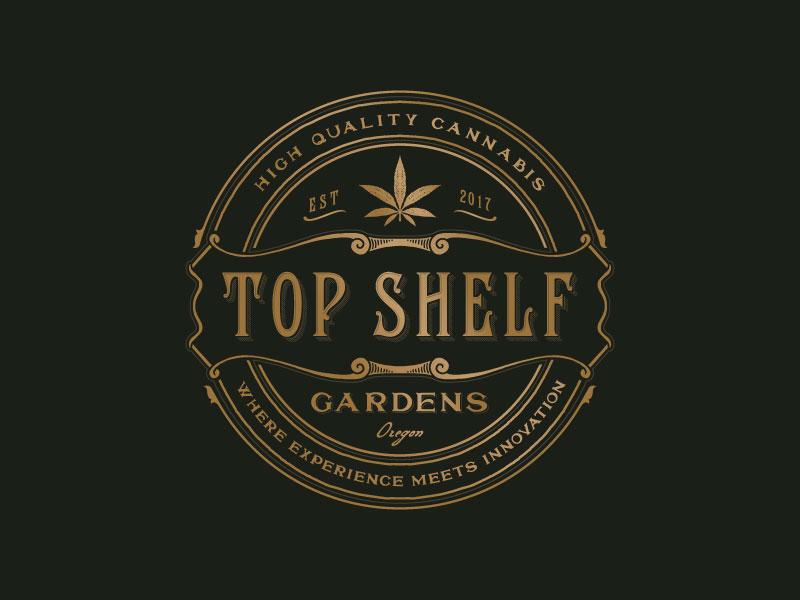 Top Shelf Gardens farm cannabis retro typography design logo organic hand-drawn luxury sophisticated illustration vintage
