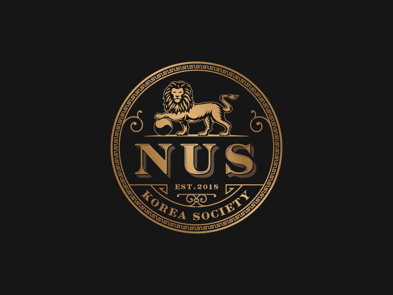 Nus Korea Society jinyang lion icon design typography logo hand-drawn luxury sophisticated illustration vintage