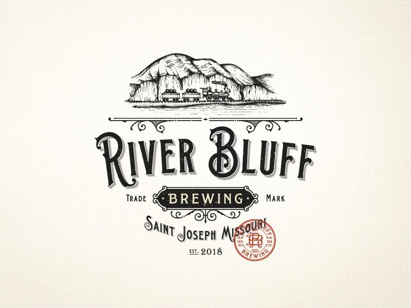 River Bluff Brewing train brewing company brewery design logo classic vintage-modern monogram organic hand-drawn luxury rustic sophisticated illustration vintage