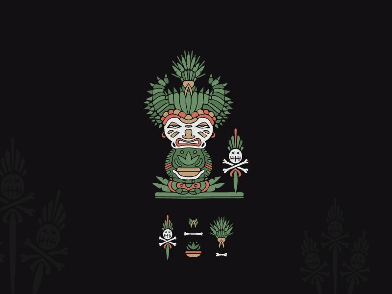 Take aya.. see maya.. spiritual game shaman organic hand-drawn sophisticated illustration vintage