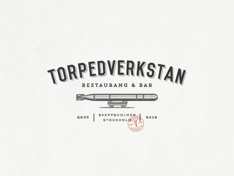 Torpedverkstan Restaurang   Bar bar restarant vintage-modern logo design monogram organic hand-drawn rustic sophisticated illustration vintage