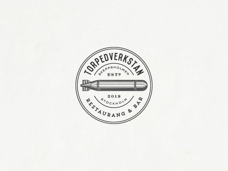 Torpedverkstain Stamp bar restaraunt vintage-modern logo design organic hand-drawn rustic sophisticated illustration vintage