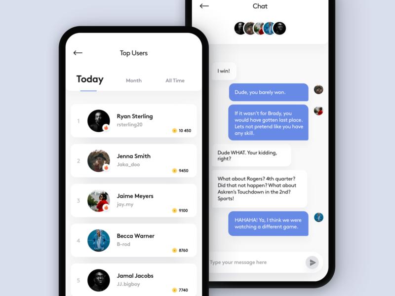 Mobile Leaderboard mobile ui fantasy sports fantasy baseball fantasy football sports leaderboard mobile chat mobile leaderboard chat leaderboard