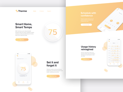 Landing Page for a Thermostat App one pager marketing site marketing page mobile concept nest thermostat mobile thermostat app mobile thermostat mobile app mobile app site landing site landing page concept landing page