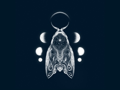 Celestial Mother Moth celestial star stars moon moth science fiction illustration
