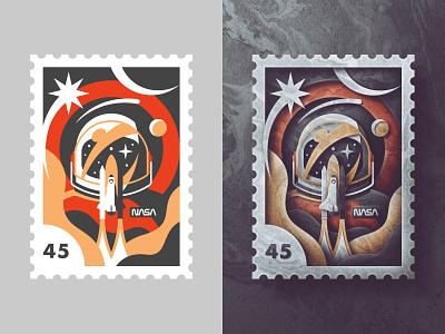Nasa Endeavour Stamp texture paper skeuomorphism san diego stars planet stamp space astronaut rocket shuttle nasa