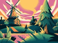 Adobe Create Forward Campaign houses hills landscape windmill lake dock plants trees netherlands ipad pro illustrator adobe