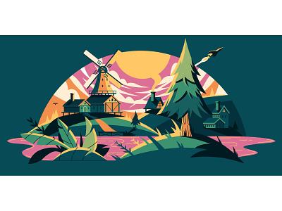 Adobe Create Forward Campaign houses hills landscape windmill lake dock plants trees netherlands ipad pro illustrator adobe