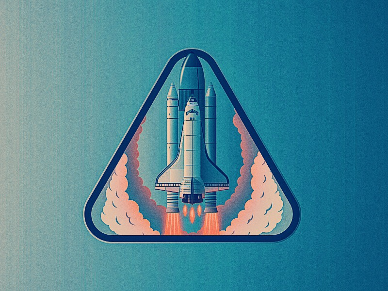Launch Icon space x illustration illustrator vintage vector spaceship space shuttle launch