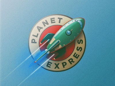 The Planet Express planet express illustrator illustration space rocket vintage vector express planet futurama