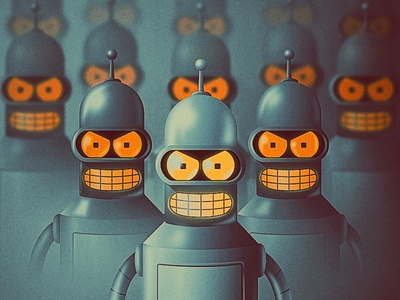 The Bending Army (Bender Illustration Variation 2) robot vintage diego san vector illustration illustrator futurama bender
