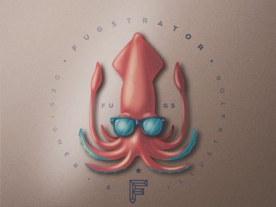 Skeuomorphic Chillin' Squid san diego grain vintage seal logo pencil chill shades rayban sunglasses squid branding