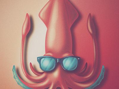 'SUP!' Ver. 2 san diego sup tentacles wayfarer rayban grain vintage squid skeuomorphism