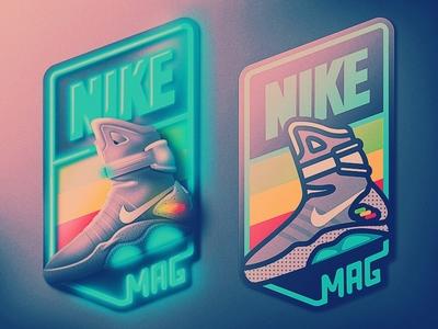 Nike Air Mag Badge back to the future nike san diego icon skeuomorphic badge skeuomorphism retro 80s kicks shoe shoes