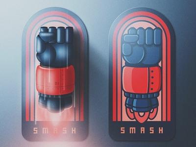 The Smash Badge lapel pin san diego skeuomorphic sticker badge pin grain lighting robot fist rocket smash
