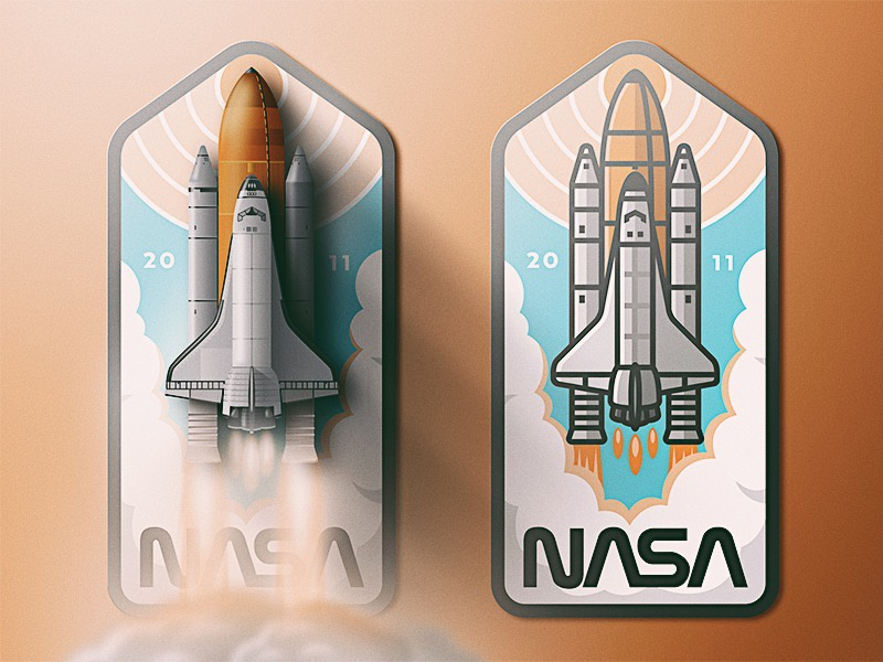 Air & Space Museum: NASA launch san diego outer space smoke badge skeuomorphic noise retro shuttle space air nasa