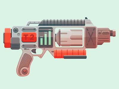 High Detail Flat Design Lesson san diego weapons flat retro futuristic magnum ammo gun