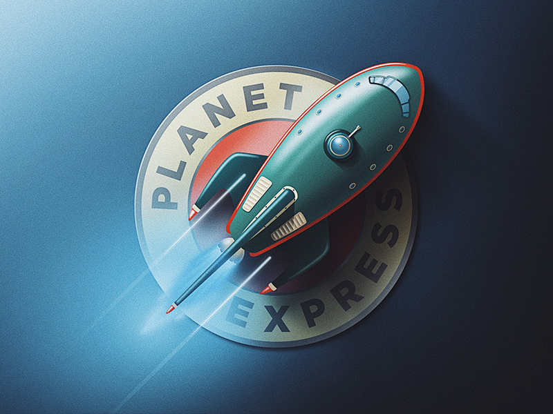 Planet Express Logo Update planet express san diego space ship noise retro skeuomorphic badge bender launch rocket space futurama
