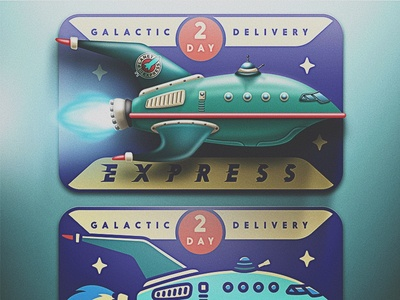 2 Day Guaranteed Galactic Delivery san diego planet express space delivery futurama rocket retro noise skeuomorphic skeuomorphism galactic