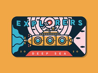 Deep Sea Explorers jelly fish ocean life line art san diego aquatic submarine sea badge explorers explore
