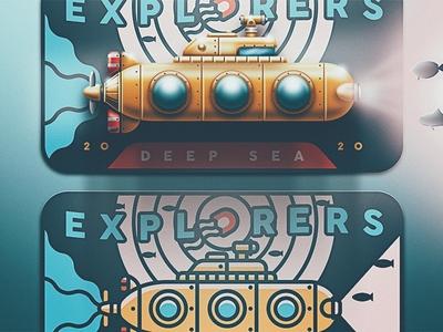 Deep Sea Explorers - Skeuomorphic Update deep sea san diego jelly fish jellyfish submarine yellow ocean skeuomorphic badge explorers explore