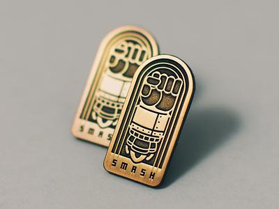 The SMASH Pin Drop san diego lapel pin pin drop metallic smash fist rocket gold antique pin enamel