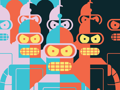 Bender is Great screen print san diego express planet retro robot symmetry humans futurama bender
