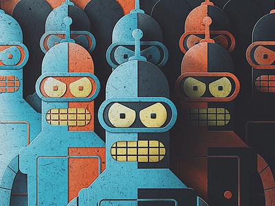 The Bender Army Digital Paper Edition! screen print san diego texture pop paper retro robot symmetry humans futurama bender