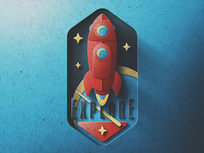 Space Explores Badge Paper Edition planet launch stars pop paper space rocket explore badge san diego