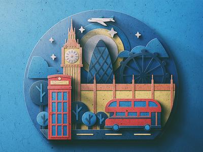 London Digital Paper Pop Up double decker phone booth london eye big ben san diego gherkin landmark texture paper london