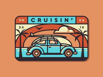 Cruisin' So Cal Badge san diego so cal surf sunrise sunset beach retro bug beetle volkswagen cruisin cruising