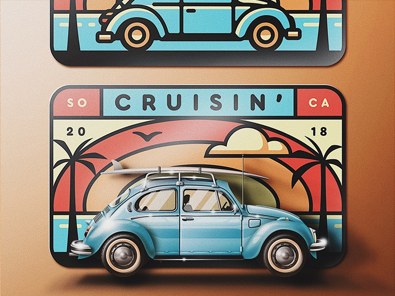 Cruisin' So Cal Skeuo Version palm tree san diego so cal skeuomorphic surf sunrise sunset beach retro bug volkswagen cruisin