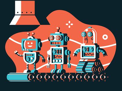 GumGum Inc Factory Robots ai mechanical magical geometric industrial environment robot robots factory tech san diego