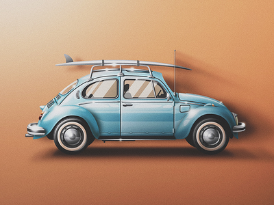 So. Cal VW Bug Icon volkswagen shiny skeuomorphic san diego old school noise fresh clean classic car bug beetle