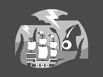 Suprise Attack! - Flat Process san diego paper storm lightning waves tentacle kraken squid ship pirate sea ocean