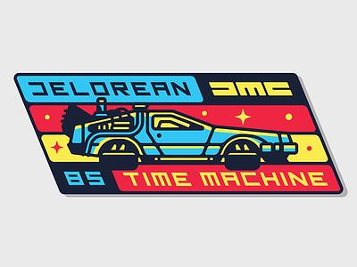 Delorean Time Machine Badge dmc sticker retro pin game badge 80s back to the future san diego time travel time machine delorean