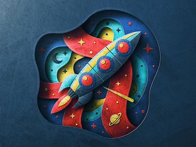 Lost in Space saturn moon stars texture paperart paper blackhole rocket explore san diego space
