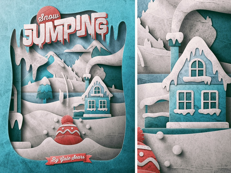 Snow Jumping Publication WIP cold skeuomorphic san diego cut-out paper texture house lake mountains christmas holidays winter snow