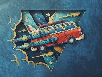 Get in My Space Van retro skeuomorphic stars surf rocket depth texture paper san diego van life van space
