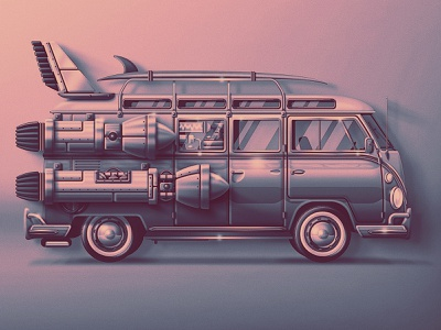 Space Van 100% Vector space exploration skeuomorphism space age retro rocket space art san diego vector skeuomorphic volkswagen van space