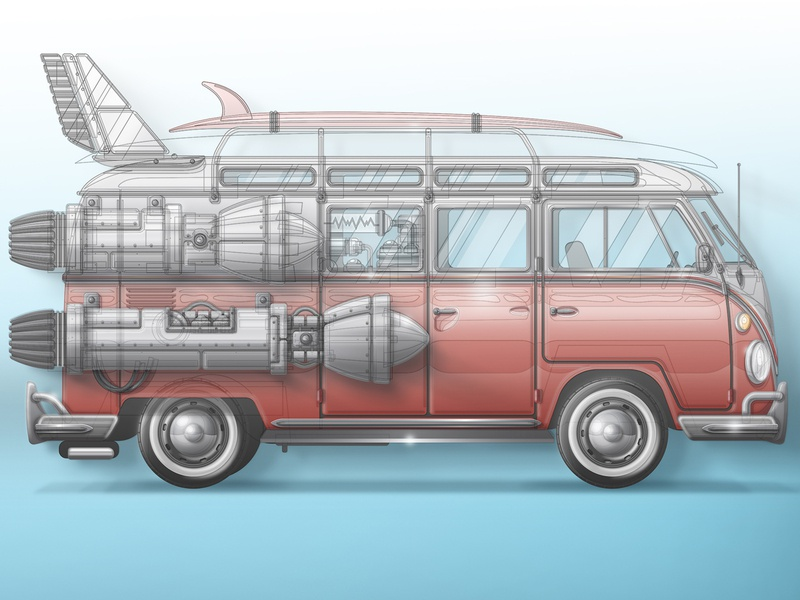 Skeuomorphic Vector Process space art vehicle vector skeuomorphic vintage surfing surf san diego rocket volkswagen van space
