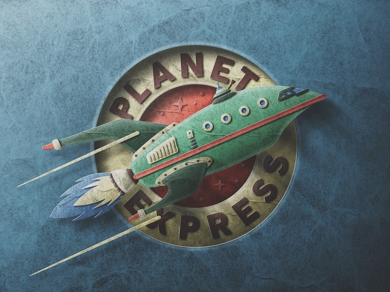 Planet Express Logo - Retro Paper Style outer space explore skeuomorphic retro space rocket futurama texture paper san diego express planet