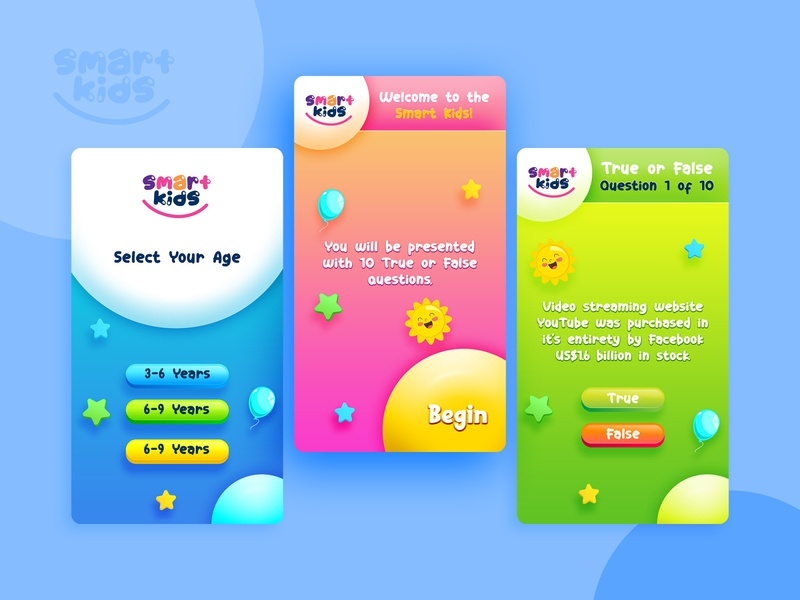 Kids Game Mobile App UI children creative ui modern colorful concept design android mobile app ux game ui kids