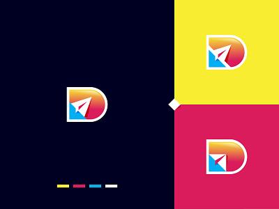 D latter with send Icon gradient logo concept branding modern creative design vector concept colorful gradient symbol sign icon send message send invitation sending send d mark d logo d letter logo design logo