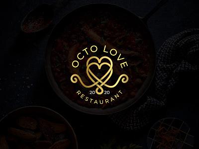 Octo Love Restaurant Logo modern luxury gold creative concept design vector 2020 bar logo design heart restaurant octo love octopus logotype logo