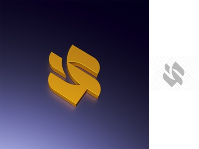 S and I concept modern cinema4d 3d simple geometric icon symbol logo design i letter s letter logo